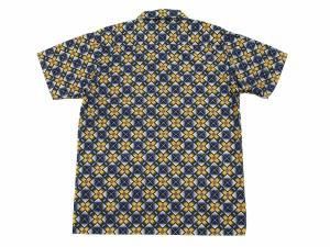 MWS オープンシャツ 80's 幾何学模様 メンズ 半袖シャツ 1514002 #77ネイビー 【3Lサイズ】新品