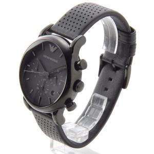 エンポリオ アルマーニ クラシック クオーツ クロノ 腕時計 ER1737 ブラック【送料無料】