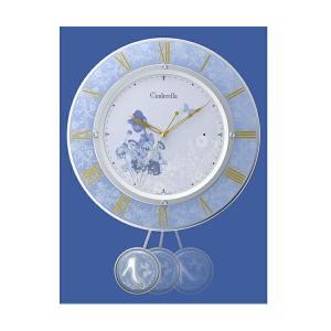リズム RHYTHM シンデレラ 振り子時計 電波 掛け時計 8MX406MC04 ライトパープル【送料無料】