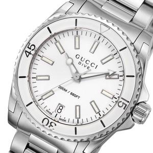グッチ GUCCI ダイヴ DIVE クオーツ ユニセックス 腕時計 YA136402 ホワイト【送料無料】