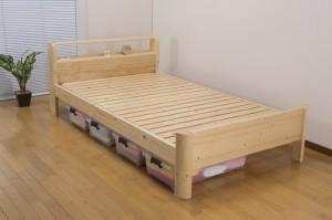 頑丈棚付きすのこベッド シングル シングルベッド ベッド すのこベッド スノコベッド ベット おしゃれ 棚付き(代引不可)【送料無料】