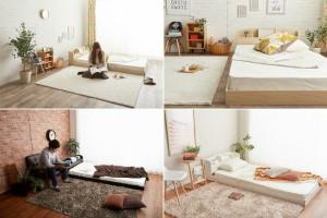 ベッド シングル フレーム 宮付き コンセント付き 北欧 ライト付きローベッド フロアベッド 【フレームのみ】(代引不可)【送料無料】
