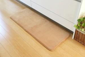 キッチンマット 無地 低反発 『快適さらり』 ローズ 45×180cm(中:低反発ウレタン12mm)(代引不可)【送料無料】