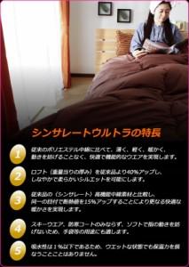 日本製 シンサレート ウルトラ 布団セット 掛敷枕セット ダブル マイティトップ使用 防ダニ 抗菌防臭 シンサレート【送料無料】