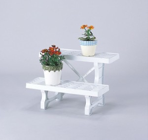 フラワースタンド ヒナ2段 450  2個組 屋内 花瓶台 置き台 飾り台 ベランダ シンプル ガーデニング(代引不可)【送料無料】