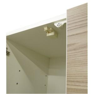 ダイニングボード(食器棚) 【ガラス扉】 幅60cm 上台扉耐震ラッチ付き 日本製 ブラウン 【完成品】【代引不可】