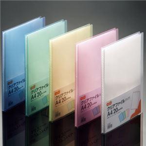 (まとめ) TANOSEE クリアファイル A4タテ 20ポケット 背幅14mm ピンク 1冊 【×40セット】