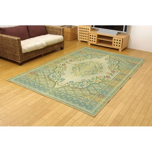 純国産 い草花ござカーペット 『アシック』 グリーン 本間4.5畳(286×286cm)