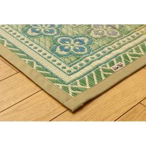 純国産 い草花ござカーペット 『アシック』 グリーン 本間6畳(286×382cm)