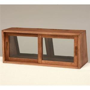 カウンター上ガラスケース(キッチン収納/スパイスラック) 木製 幅60cm×奥行25cm 取っ手/引き戸付き MUD-6067DBR ブラウン【代引不可】