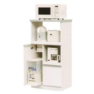 レンジ台(キッチン収納) 2型 幅60cm スライドレール/二口コンセント/米びつ付き 日本製 ホワイト(白) 【完成品】【代引不可】