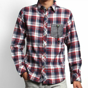 チェックシャツ 上質ネルチェック素材 コンチョボタンがアクセント お洒落なネイティブシャツ シャツ チェック フランネル メンズ チェッ