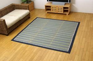 い草ラグカーペット 『DX京物語』 ブルー 約180×180cm(裏:不織布)(代引き不可)