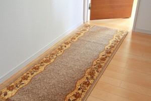廊下敷 ナイロン100% リーガ レッド 80×540cm 滑りにくい加工(代引不可)【送料無料】
