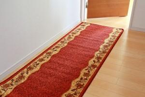 廊下敷 ナイロン100% リーガ レッド 80×700cm 滑りにくい加工(代引不可)【送料無料】