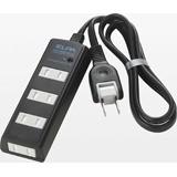 ELPA 耐雷サージ機能付コード付タップ 4個口 3m WBT-4030SBN(BK) ブラック 朝日電器