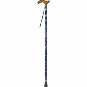 マックスファクトリー 4段折りたたみ伸縮ステッキ ナイロンポーチ付き 紫地花柄 8804FP