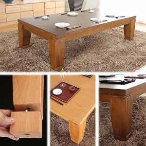 モダンリビングこたつ ディレット 150×80cm こたつ テーブル 長方形 日本製 国産継ぎ脚ローテーブル(代引不可)