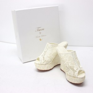 新品同様 あす着 ツルバイマリコオイカワ TSURU by Mariko Oikawa レース シューズ 靴  サンダル