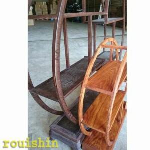 飾り棚木製雑木珍品棚円形大51cm(送無)【超大型便】【中国家具】