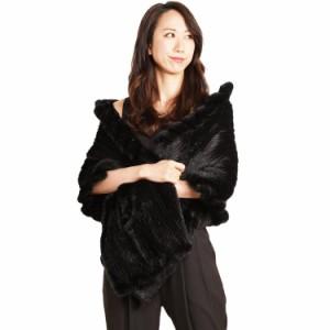 毛皮ファーブラックミンク編み込みストールStallポケット付き女性用ladiesレデイースケープストール(No.8612)