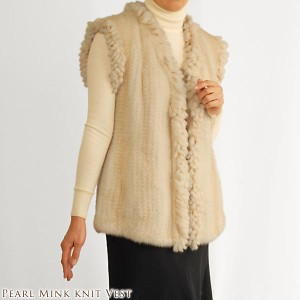 毛皮ファーパールミンク編み込みベストBESTvestladiesレデイース結婚式編み込みミンク本皮革人気(No.102900)