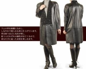 ラム&プリントラムコートレザー本coat結婚式ブランドレディース皮(No.0912-22)