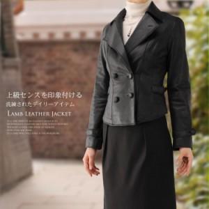 ラムレザーテーラーカラージャケット&スカートスーツ婦人女性用プレゼント女子本皮母の日ギフト(No.5747)