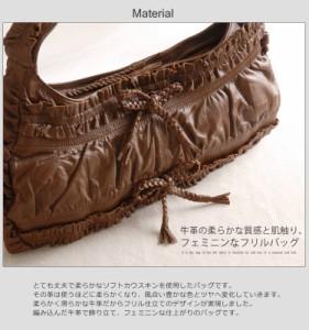 ソフトカウフリルデザインハンドバッグショルダーバックバッグ鞄メンズギフト男性人気本革革本物ブランド斜めかけカバン(No.7015)