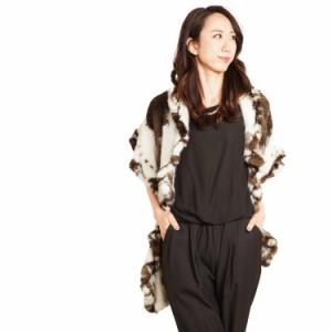 毛皮ファーフィンジャガーミンク編み込みストールStallフリルデザイン女性用ladiesレデイース(No.8097fin)