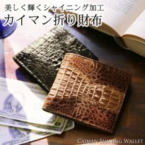 カイマン(背ワニ)シャイニング折り財布/二つ折り財布/メンズギフト(No.9553)