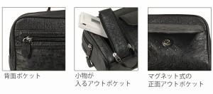 通勤ビジネスオーストリッチWファスナーメンズギフトバッグアウトポケット携帯入れ付メンズギフトバッグバック人気本皮革(No