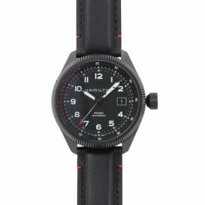 INT-354ハミルトン カーキ テイクオフ オート メンズ H76695733 ブラック/ブラックレザー  時計/ウォッチ