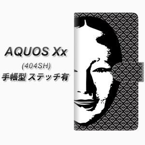 メール便送料無料 SoftBank AQUOS Xx 404SH 手帳型スマホケース 【ステッチタイプ】【YI872 能面03】(アクオス ダブルエックス 404SH/404