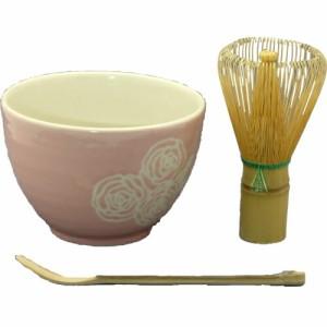 抹茶セット 一粒選り バラ柄(ピンク) 抹茶碗 茶筅(緑) 茶さじ ボール箱入り ギフト せともの 陶器 キャラクター