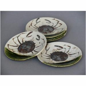 陶器 織部掛蟹絵5.3丸皿揃 φ16.5cm 飲食店 業務用