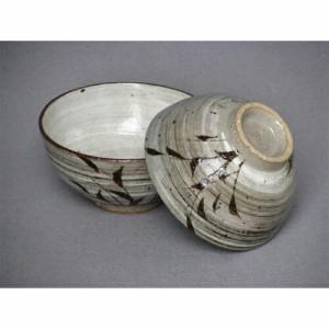 陶器 刷毛目草紋組飯椀 大:φ11.5xh6cm 小:φ10.8xh5.5cm 飲食店 業務用