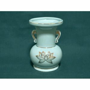 仏花瓶 青磁金ハス 5寸(高さ15.1cm) 仏具 仏壇 供養 お供え お盆 お彼岸 せともの 瀬戸物