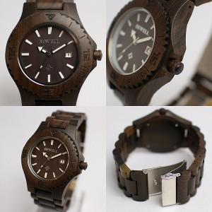 天然素材 木製腕時計 日付カレンダー 軽い 軽量  WDW004-02 メンズ腕時計 送料無料