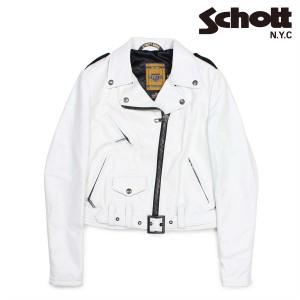 ショット Schott ダブルライダースジャケット ジャケット レザージャケット レディース ホワイト SPERW 12/27 新入荷