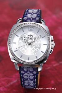COACH コーチ レディース腕時計 ボーイフレンド シルバー/ネイビーシグネチャーレザー 14502417