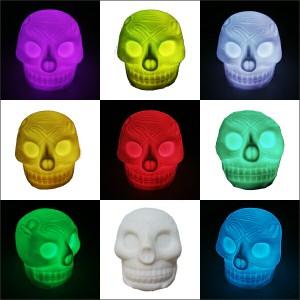 光るスカル 光るLEDスカル LEDグラデーションライト スカルライト ハロウィン 光るもの LEDイルミネーション バー用品 パーティーグッズ