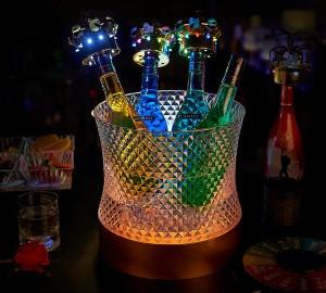 光る ワインクーラー 丸型 アイスペール シャンパンクーラー LED ボトルクーラー 氷入れ お洒落 お酒グッズ 丸形 アクリル シンプル