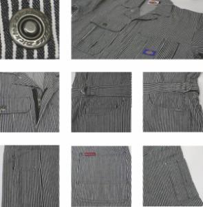 ディッキーズ つなぎ Dickies 811 ヒッコリーストライプ 作業着 作業服 半袖 ツナギ メンズ おしゃれ S,M,L,LL