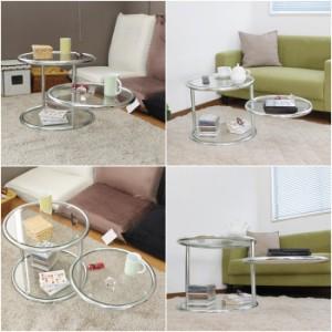 ラウンド ガラステーブル 50 3段 テーブル 机 センターテーブル リビング ガラス 丸 円形 円 ミニ 小型 サイド ソファ ベッド 強化ガラス