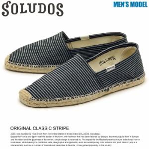 ソルドス SOLUDOS オリジナル クラシック ストライプ スリッポン キャンバス 靴 メンズ 送料無料!