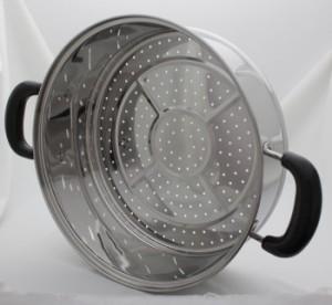 IH対応 ステンレス製 深型 二段蒸し器 26cm IH/鍋/蒸し器/せいろ/深型/電磁調理器/ガス/取っ手/フタ/蓋/200V/両手鍋/調理器具/蒸し/二段