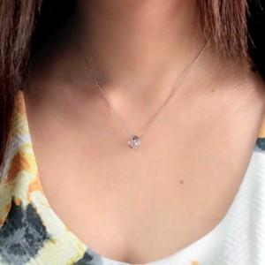 天然ダイヤモンド×7月誕生石天然ルビー2連リングトップネックレス ギフト 送料無料