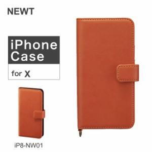5f2e7d344f ニュート NEWT iPhoneXケース イタリアンソフトレザー iP8-NW01 オレンジ アイフォン スマホケース 手帳型 カード