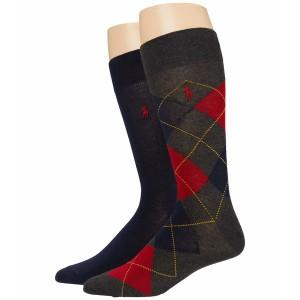 ラルフローレン メンズ 靴下 アンダーウェア Lightweight Argyle Charcoal/Red